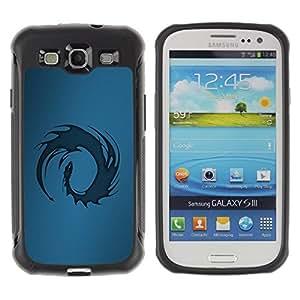 Suave TPU Caso Carcasa de Caucho Funda para Samsung Galaxy S3 I9300 / Blue Tribal Dragon / STRONG