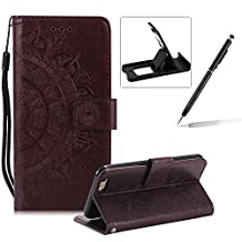 Strap Leather Case for iPhone 6S Plus,Brown Wallet Cover for iPhone 6 Plus,Herzzer Classic Retro Pretty Mandala Flower Embossed Magnetic Closure Stand Shockproof Flip PU Leather Back Case with Soft Silicone