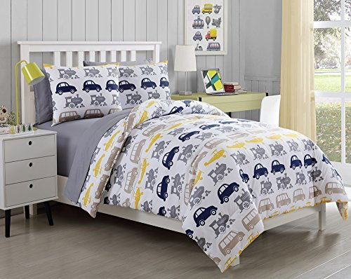 7 Pc, Boys, Car, Truck, Bed in a Bag, Full Size Bedding, by Karalai Bedding Collection