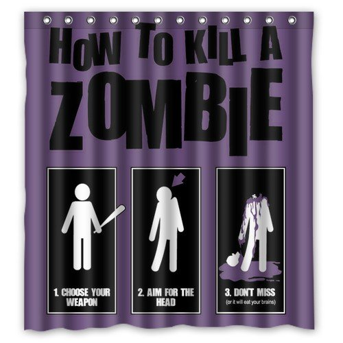 Shower Curtain Home Decoration Bathroom Funny Zombie Cat/Zombie Santa Claus/How to Kill A Zombie? Waterproof Fabric 66(w) x72(h) Inch