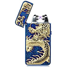 Padgene Electronic Pulse Double Arc Cigarette Lighter, Chinese Dragon Windproof Flameless USB Rechargeable Arc Lighter