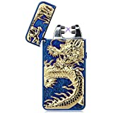 Padgene Electronic Pulse Double Arc Cigarette Lighter, Chinese Dragon Windproof Flameless USB Rechargeable Arc Lighter, Dark Blue