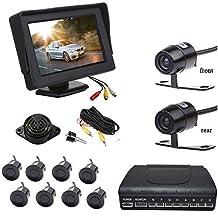 "Car Rear Front View Kit 4.3"" Monitor & Reverse Front Cameras + 8 Parking Sensors"