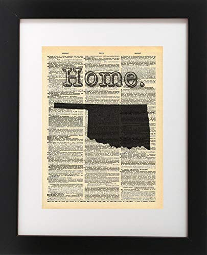 Oklahoma Vintage Map Vintage Dictionary Print 8x10 inch Home Vintage Art Abstract Prints Wall Art for Home Decor Wall Decorations For Living Room Bedroom Office Ready-to-Frame ()