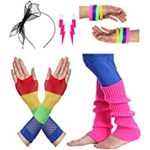 JustinCostume Women's 80s Outfit Accessories Neon Earrings Leg Warmers Gloves