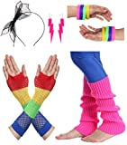JustinCostume Women's 80s Outfit accessories Neon Earrings Leg Warmers Gloves, B
