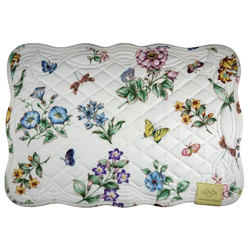 (Lenox Butterfly Meadow Quilt, Pack of 4 Placemats, Ivory)