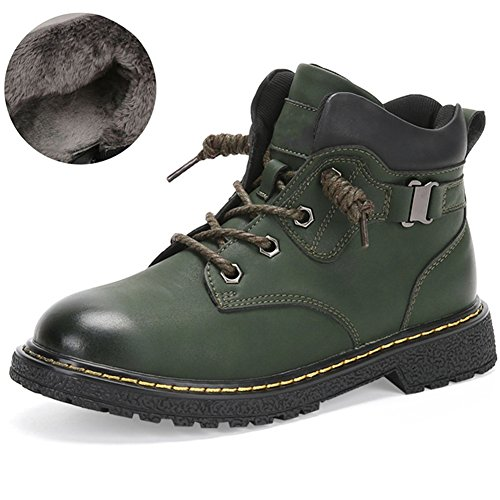 Boys Winter Warm Fur Lined Combat Hiking Boots Kid Toddler Soft Buckle Heels Lace up Ankle Martin Boot
