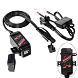 MOTOPOWER MP0608 3.1Amp Motorcycle Dual USB Charger SAE to USB Adapter Battery Monitor with Switch Control and LED Indicator Prevent Battery Over-Discharge
