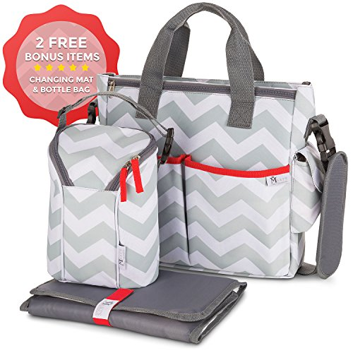 Baby Diaper Bag Chevron Grey- Bottle Bag & Changing Mat - 13...