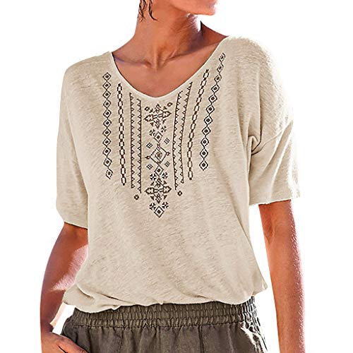 yoyorule Summer T-Shirt Womens Summer Casual V Neck Short Sleeve Printed Casual T Shirt Top Blouse Beige]()