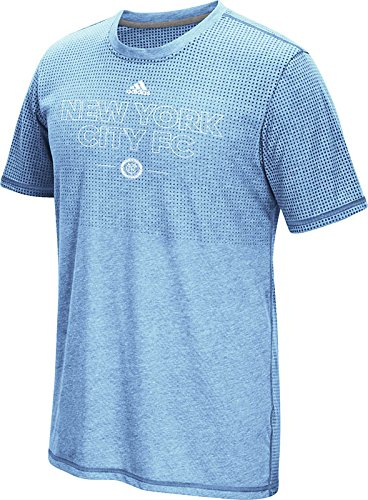 MLS New York City Football Club Men's Club Authentic 16 Climacool Short Sleeve Tee, Medium, Leathered Light Blue