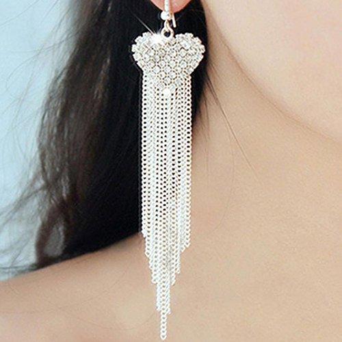 Hemlock Women Lady Elegant Crystal Long Drop Earrings Ear Stud (Silver) (Rope Earrings Drop)