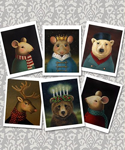 Animal Portrait Christmas Cards - Set of 6 note cards - Animal Lover
