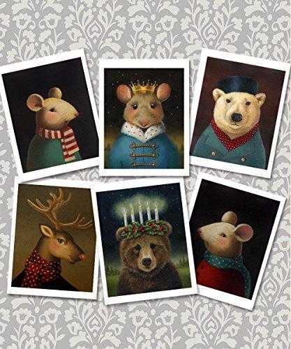 Animal Portrait Christmas Cards - Set of 6 note cards - Animal Lover's Gift - Hostess Gift - Mouse King - Polar Bear - Reindeer - Stocking Stuffer - Secret Santa Gift