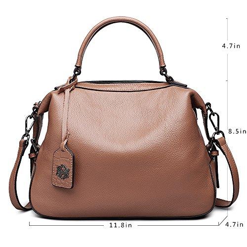 Top Bags Large Capacity Handbags Leather Handle ZOOLER for Crossbody Brown Genuine Bag Women qSPUXv