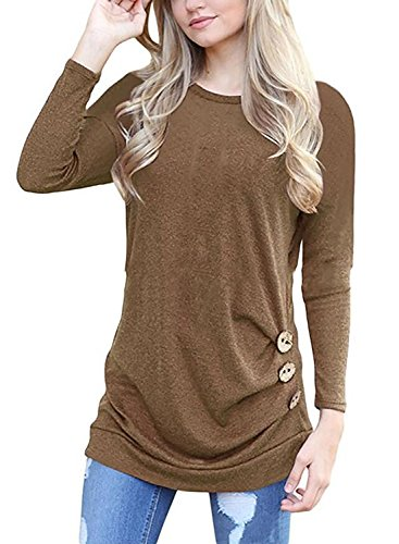 Bond girl Womens Long Sleeve Casual Round Neck Loose Tunic Top Blouse T-Shirt (Khaki, - Girls Round Brown
