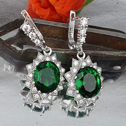 Sterling Silver Oval Chrome Diopside Earrings Victorian Style Turkish Jewelry ()