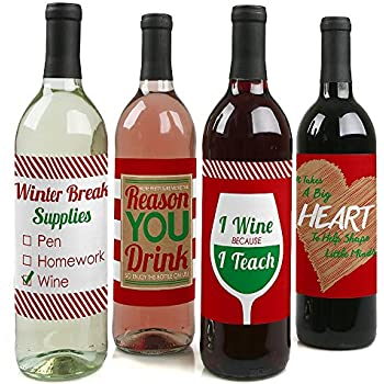 teacher christmas wine bottle labels holiday christmas gifts for teachers set of