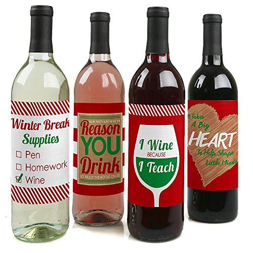 Teacher Christmas - Holiday & Christmas Gift for Women and Men - Wine Bottle Label Stickers - Set of 4