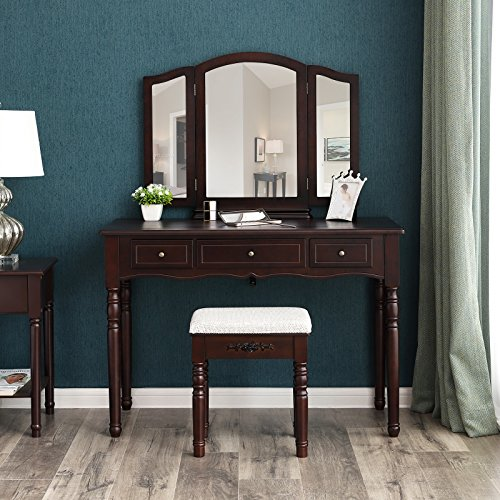 SONGMICS Vanity Table Set, 3 Large Drawers, Tri folding Mirror, Make-up Dressing Table with Cushioned Stool, Easy Assembly, Gift for Mom Brown URDT18Z