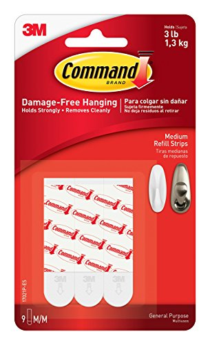 : Command Refill Strips, Medium, White, 9-Strips