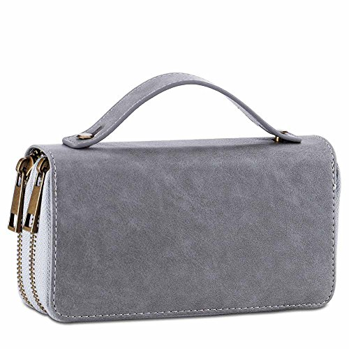 Womens Double Zipper Around Long Clutch Wallet Credit Card Holder Purse with Coin Pocket for Cash, Coin, and 5.5 inch Cellphone ()