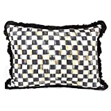 Courtly Check Ruffled Lumbar Pillow, BLACK/WHITE