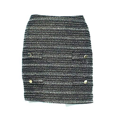 (Leona by Lauren Leonard Womens Tweed Skirt Black/White 6)