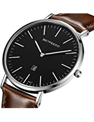BETFEEDO Mens Ultra-Thin Quartz Analog Date Wrist Watch with Black Leather Strap (BLACK/BROWN)