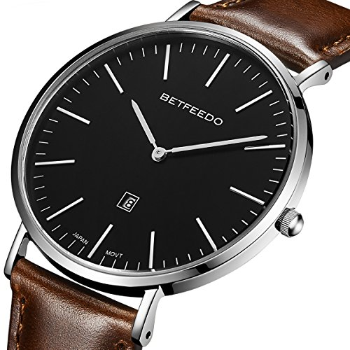 Betfeedo Mens Ultra Thin Quartz Analog Date Wrist Watch With Black Leather Strap  Black Brown