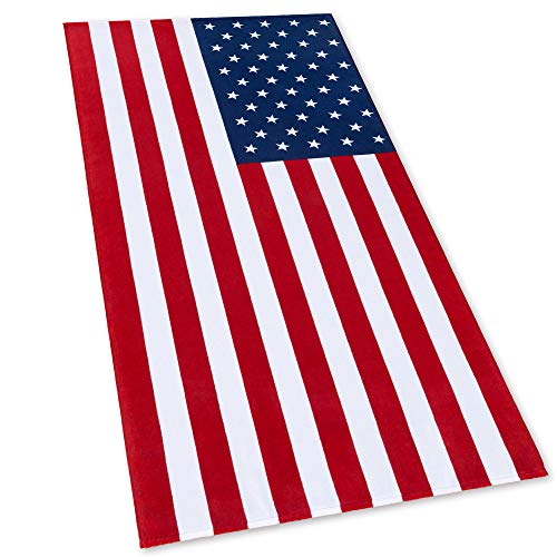 American Flag Beach Towel 30 x 60 inch (76 x 152 cm) USA Patriot 100% Cotton Velour Terry