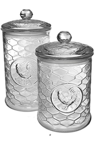(Set 2 Large Glass Embossed Rooster Coop French Kitchen Canisters Storage)