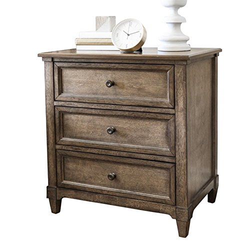 Abbyson Living Westley 3 Drawer Nightstand In Weathered Oak