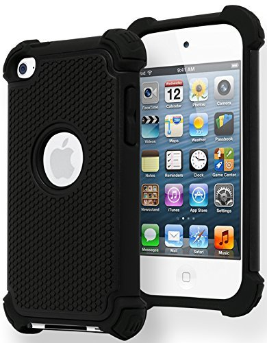 iPod Touch 4 Case, Bastex Hybrid Slim Fit Black Rubber Silicone Cover Hard Plastic Black Shock Case for Apple iPod Touch 4, 4th - Cheap Ipod Generation 4th Cases