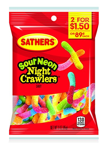 Farley's & Sathers Candy, Sour Neon Crawlers, 3 Ounce, Pack of ()