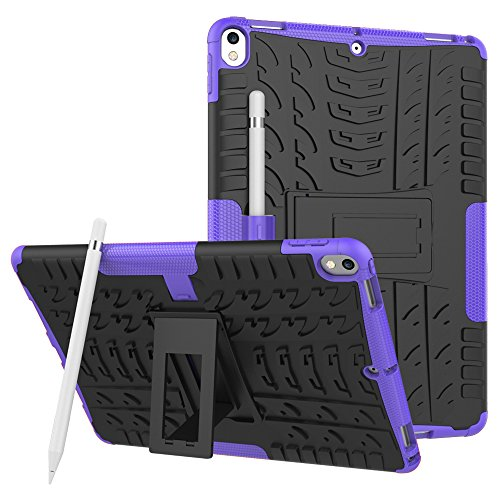 KAMII Apple iPad Pro 10.5 Case, [Kickstand] Shockproof & High Impact Resistant Heavy Duty Hybrid Protection Case Cover with Apple Pencil Holder Feature for Apple iPad Pro 10.5 inch 2017 Tablet(Purple)