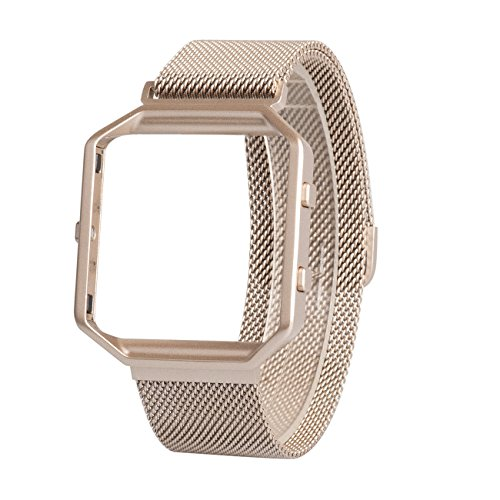For Fitbit Blaze Band Small With Metal Frame, Wearlizer Milanese Loop Smart Watch Band Replacement Stainless Steel Bracelet Strap for Fitbit Blaze, Christmas Gift - Champagne Gold Small