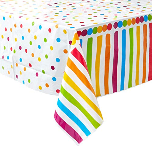 Oojami 4 Pack Polka Dot Plastic Tablecloth, 108 x 54, with White dots (Rainbow)