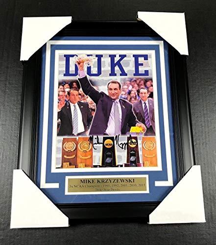 Mike Krzyzewski COACH K AUTOGRAPHED 8X10 PHOTO DUKE BLUE DEVILS FRAMED JSA COA Duke Blue Devils Framed
