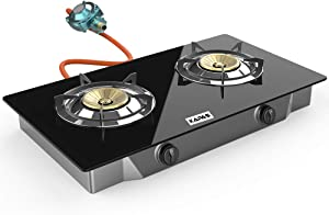 Outdoor & Indoor Portable Propane Stove, Single & Double Burners with Gas Premium Hose for Backyard Kitchen, Camping Grill, Hiking Cooking, Outdoor Recreation (RQ62-LARGE,2Burners)
