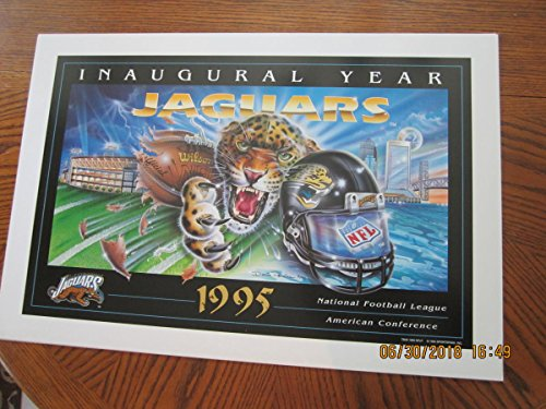 """1995 Jacksonville Jaguars Inaugural Year First NFL Print 19x26"""" thick paper from P&R publications"""