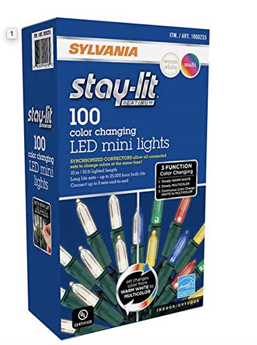 Stay-Lit Sylvania Platinum 100-Count Color Changing LED Mini Dual Lights (33 ft. Length) (Single Pack) (Hut Christmas Led Lights)