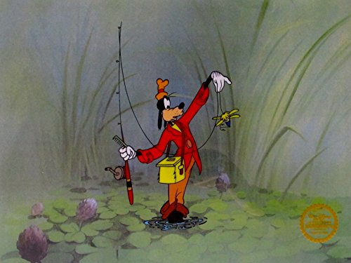 Wall Art by Disney Goofy Fishing Limited Edition Sericel Animation Art Cel Measures Approx. 11 Inches X 14 Inches