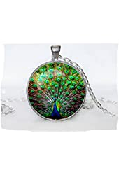 Peacock Pendant Peacock Necklace Aqua Turquoise Orange Red Blue Green Necklace