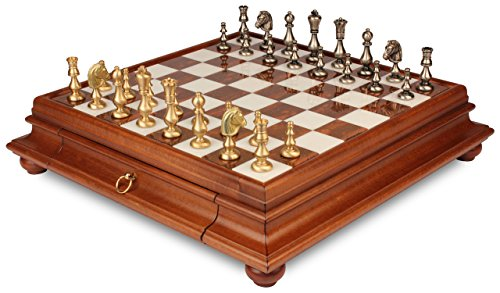 Classic Oriental Brass Chess Set with Alabaster Chess (Brown Alabaster Chess Set)
