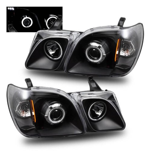 SPPC Projector Headlights Black Assembly Set (CCFL Halo) For Lexus Lx470 - (Pair) Includes Driver Left and Passenger Right Side Replacement Headlamp