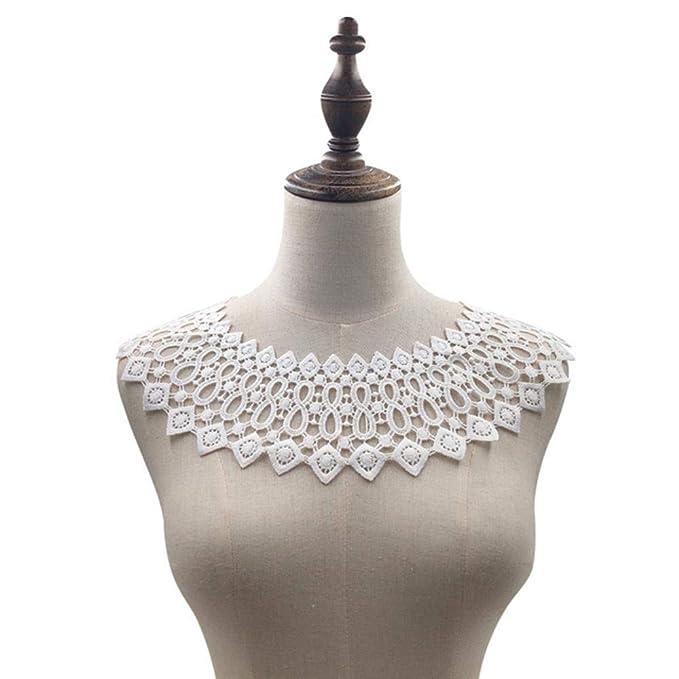 blanco DACCU 1 pieza punta hueca pl/ástico bordado tul corte flor punta cuello accesorios de costura proporciona trim vestido de novia