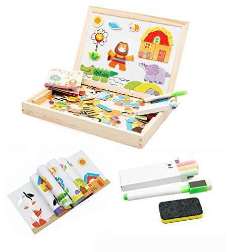 Wooden Toys For Children Multifunctional Magnetic Puzzle Drawing Board Education