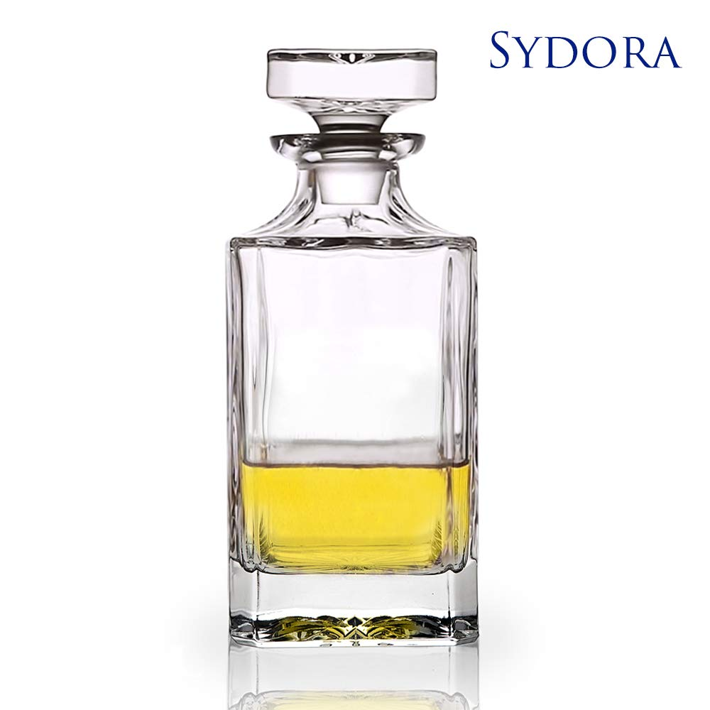 SYDORA Whiskey Decanter & Liquor Decanter - 750ml/25oz for Wine, Whisky, Bourbon, Brandy and Liquor(Krume)